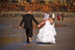 Wedding fun on the beach Royalty Free Stock Photography