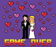 Wedding funny card with game over message pixel art style. Vector illustration royalty free illustration