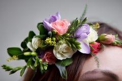 Wedding garland. Close-up of vivid wedding garland on bride's head Stock Photos