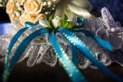 Wedding garter with bouquet, expensive, good, hotel royalty free stock photo