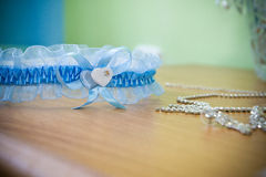 Wedding garter of the bride Stock Photo