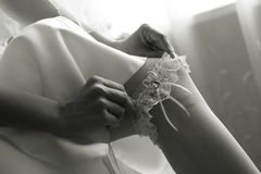 Wedding, garter, leg, bride Royalty Free Stock Photo