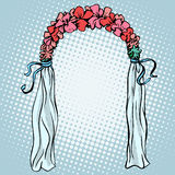 Wedding gate for the betrothal. Pop art retro style. Love romantic decoration Royalty Free Stock Photos