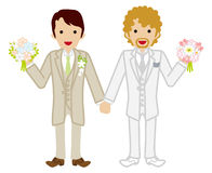 Wedding -gay couple -Beige Suit Stock Photo