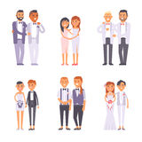 Wedding gay couples vector set. Royalty Free Stock Image