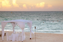 Wedding gazebo. On the Caribbean beach stock images