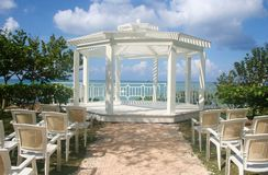 Wedding Gazebo. A gazebo set up for a wedding near the beach Royalty Free Stock Photo