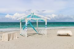Wedding gazebo on the beach, Cuba, Varadero Royalty Free Stock Photo