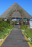 Wedding gazebo on the Caribbean coast. Royalty Free Stock Photos