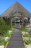 Wedding gazebo on the Caribbean coast. Stock Photos