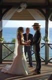 Wedding in Gazebo at Heisler Park, Laguna Beach, CA. Image shows a wedding in the Gazebo at Heisler Park, Laguna Beach, California. In keeping with the casual royalty free stock photography