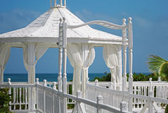 The wedding gazebo standing at the sea shore Royalty Free Stock Image