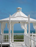 The wedding gazebo standing at the sea shore Stock Photo