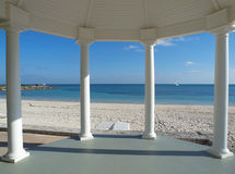 Wedding gazebo on a tropical beach. White gazebo for weddings overlooking tropical beach Stock Photo