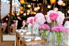 Wedding Gazebo Tropical Flower Setup on water Lagoon in Maldives. Royalty Free Stock Images