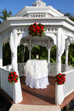 Wedding Gazebo in tropical location. White gazebo dressed for a wedding in tropical location Stock Photography