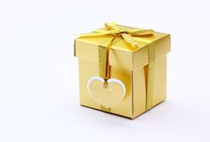 Wedding gift. Gold gift box Royalty Free Stock Image