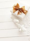 Wedding gift. Box, wedding background Royalty Free Stock Images