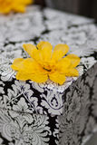 Wedding Gift Box. Black and white floral damask wedding gift box, decorated with yellow flowers Stock Photo