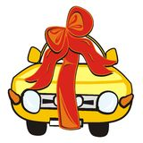 Wedding gift-car. Wedding gift - a car with a bow. Humorous illustration. Vector icon vector illustration
