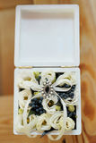 Wedding gift casket decorated with bow and ribbons Royalty Free Stock Photography