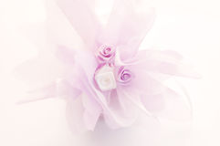 Wedding gift decoration. Little wedding gift decorated with flowers Royalty Free Stock Image