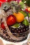 Wedding Gift Fruits. Beautiful wedding gift with colorful fruits Stock Photo