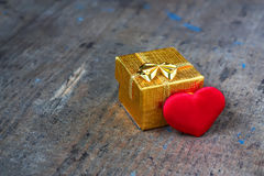 Wedding gift with heart Stock Images
