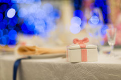 Wedding gift. Set for dining,indoor wedding scene Stock Photo