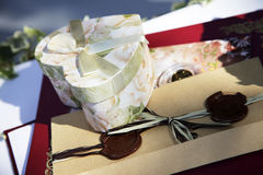 Wedding gifts. A box of appreciation gift royalty free stock image