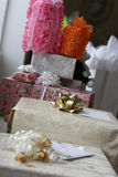 Wedding gifts. Several gift-wrappped wedding gifts of various sizes next to each other Stock Photography