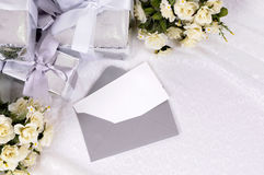 Wedding invitation thank you note card white copy space Stock Photos
