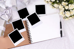 Wedding photo album polaroid frame photo prints copy space stock photos