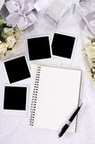 Wedding photo album polaroid frames copy space vertical Stock Photo
