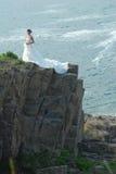 Wedding girl in Cliff. Asian Wedding girl at cliff Stock Photos