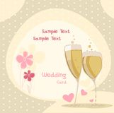 Wedding glasess with shampagne. Invitation to the wedding with flowers and glasses shampagne Stock Images