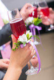 Wedding glass in hands of bride Royalty Free Stock Photography