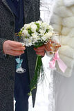 Wedding glass for fiance and fiancee Stock Image