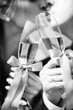 Wedding glass and kiss Royalty Free Stock Photo