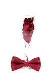 Wedding glass with red rose petals Stock Photos