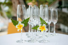 Wedding glass setting. On the table Royalty Free Stock Photo