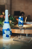 Wedding glass of shampagne on the table. Royalty Free Stock Photos
