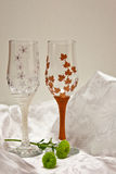 Wedding glasses. Winter and autumn stock image