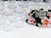 Wedding Glasses. A table of glasses for a wedding stock photos