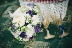 Wedding glasses, bouquet, picnic royalty free stock photo