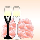 Wedding glasses. Bridal couple wine glasses. Wedding bride and groom champagne stemware vector. Vector image of wine glasses, dressed in wedding characters Royalty Free Stock Image
