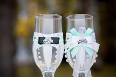 Wedding glasses bride and groom royalty free stock photography