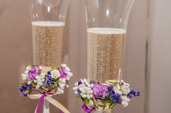 Wedding glasses with champagne Royalty Free Stock Images