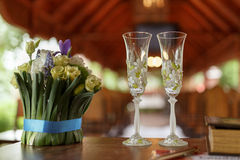 Wedding glasses of champagne Stock Photos