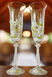 Wedding glasses of champagne Royalty Free Stock Photo